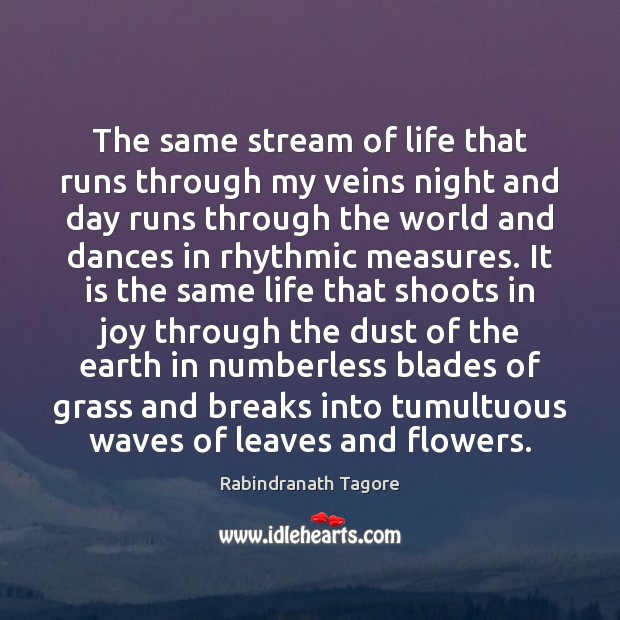 The same stream of life that runs through my veins night and Rabindranath Tagore Picture Quote