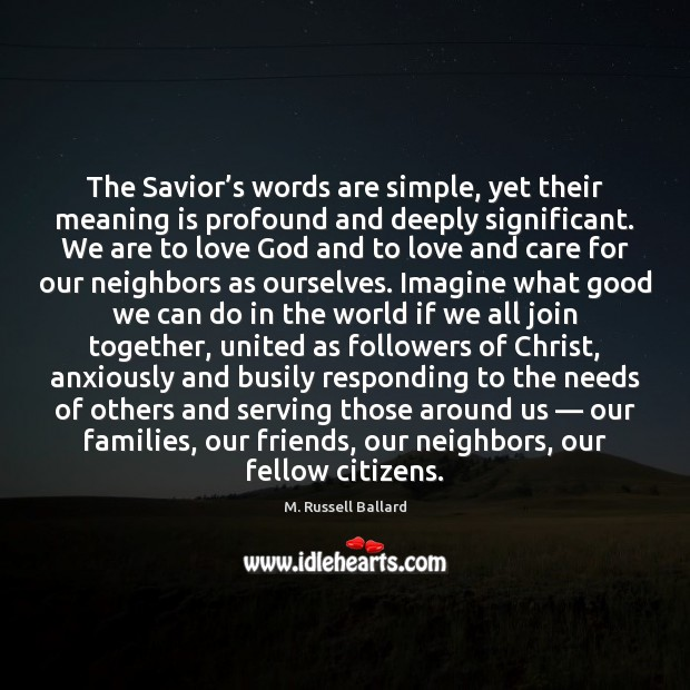 The Savior's words are simple, yet their meaning is profound and Image