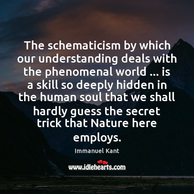 The schematicism by which our understanding deals with the phenomenal world … is Image