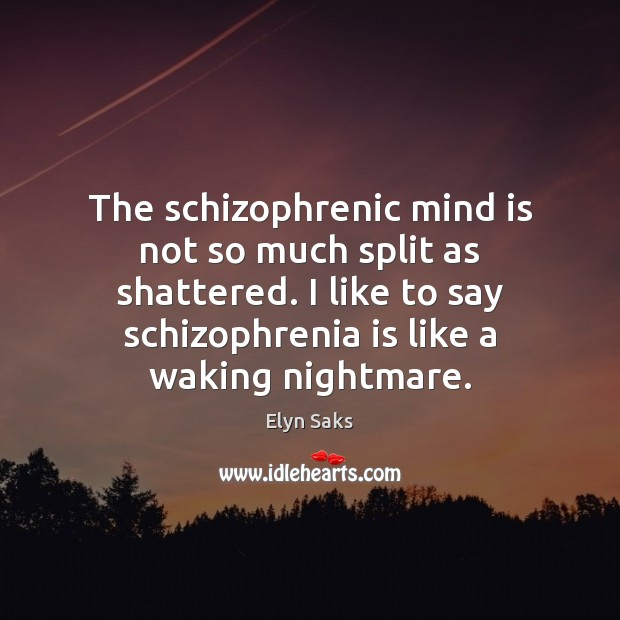 The schizophrenic mind is not so much split as shattered. I like Image