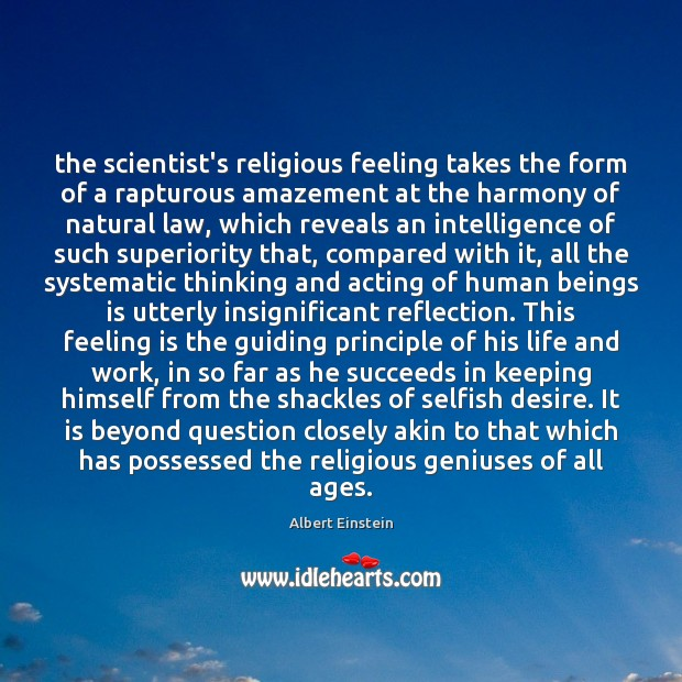 Image, The scientist's religious feeling takes the form of a rapturous amazement at