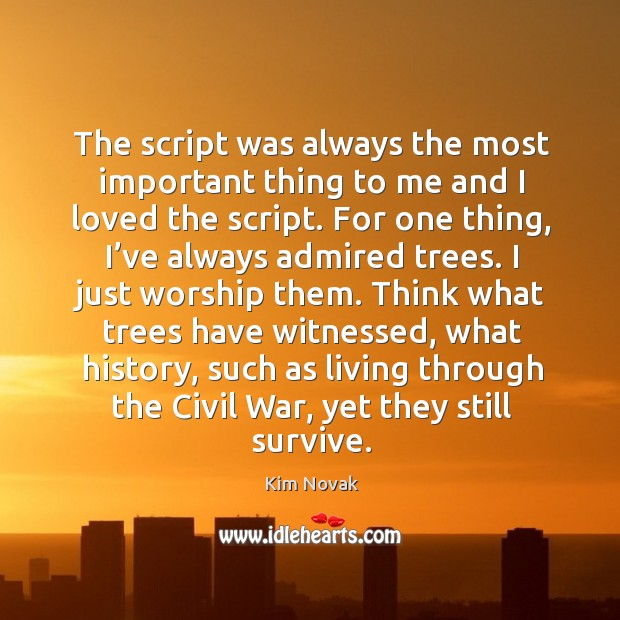 The script was always the most important thing to me and I loved the script. Kim Novak Picture Quote