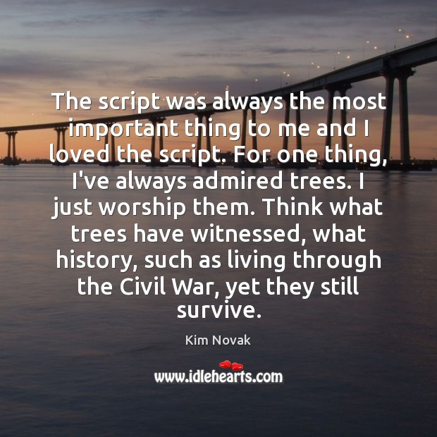 The script was always the most important thing to me and I Kim Novak Picture Quote
