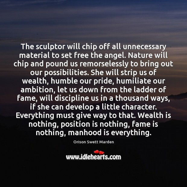 The sculptor will chip off all unnecessary material to set free the Wealth Quotes Image