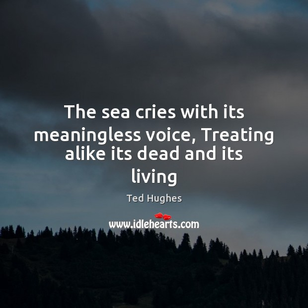 Image, The sea cries with its meaningless voice, Treating alike its dead and its living