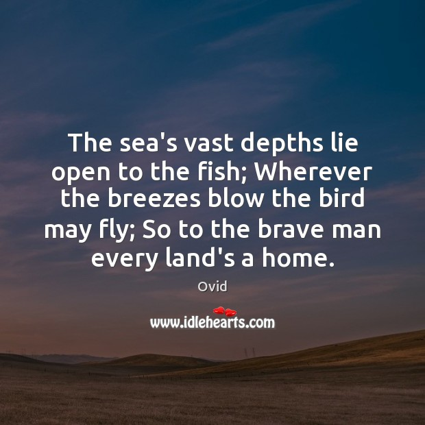 Image, The sea's vast depths lie open to the fish; Wherever the breezes