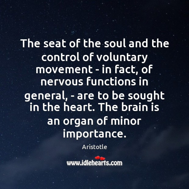 Image, The seat of the soul and the control of voluntary movement –