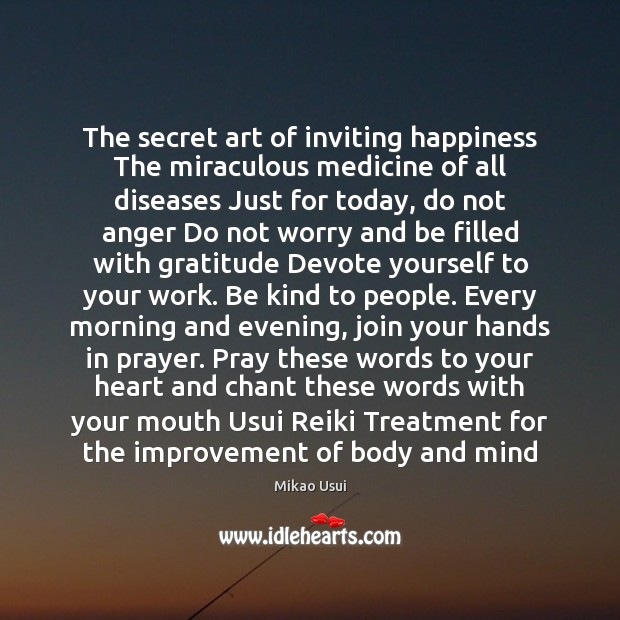 The secret art of inviting happiness The miraculous medicine of all diseases Image