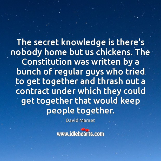 The secret knowledge is there's nobody home but us chickens. The Constitution Image