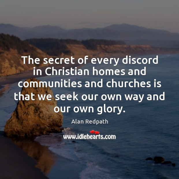 Image, The secret of every discord in Christian homes and communities and churches