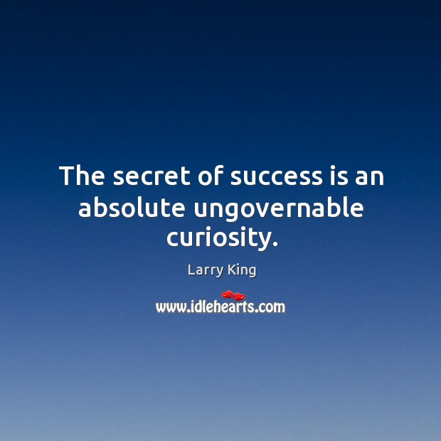Image, The secret of success is an absolute ungovernable curiosity.