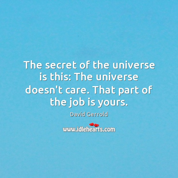 The secret of the universe is this: The universe doesn't care. That David Gerrold Picture Quote