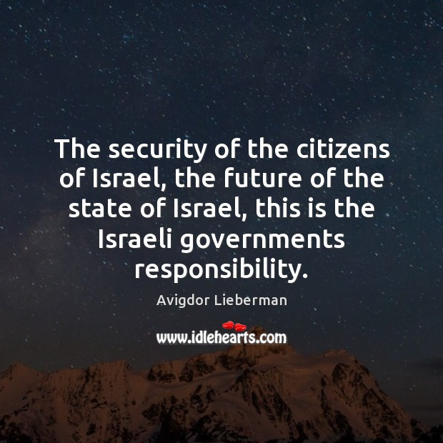 Image, The security of the citizens of Israel, the future of the state