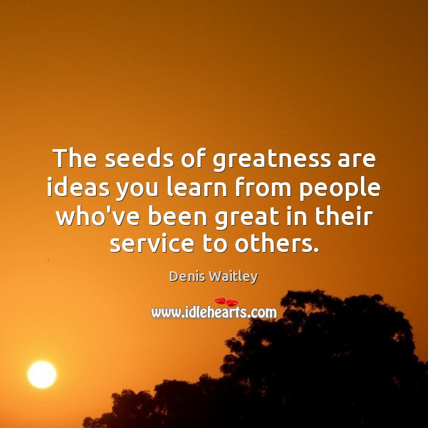 The seeds of greatness are ideas you learn from people who've been Denis Waitley Picture Quote