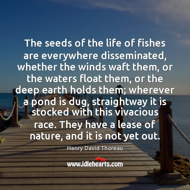 The seeds of the life of fishes are everywhere disseminated, whether the Image