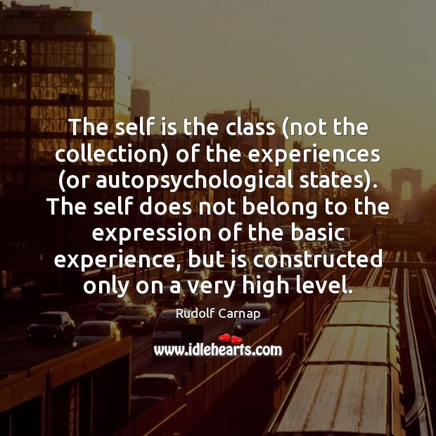 The self is the class (not the collection) of the experiences (or Image