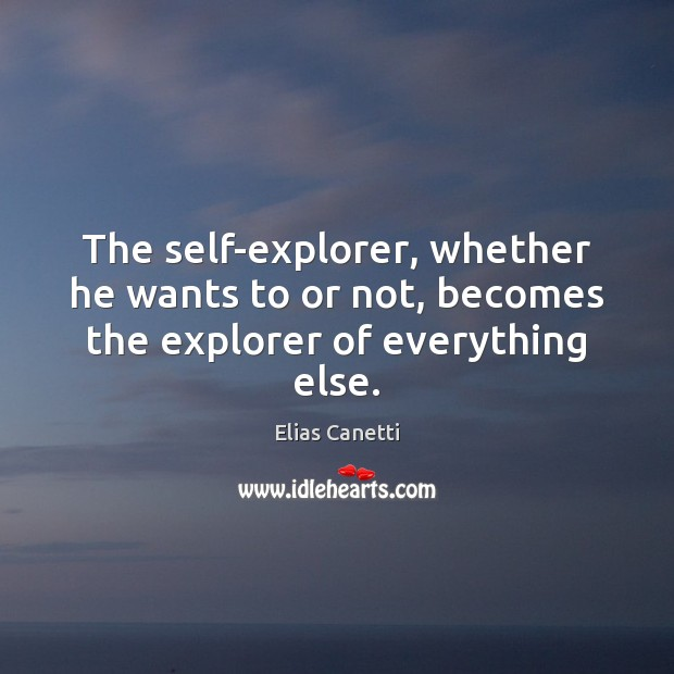 Image, The self-explorer, whether he wants to or not, becomes the explorer of everything else.