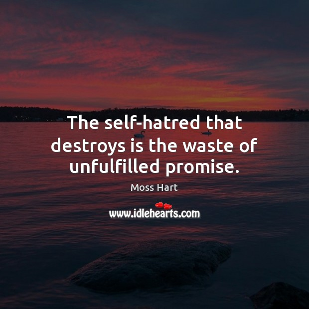 The self-hatred that destroys is the waste of unfulfilled promise. Image
