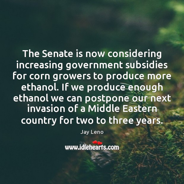 The Senate is now considering increasing government subsidies for corn growers to Image