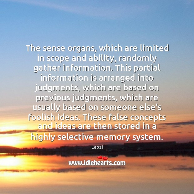 Image, The sense organs, which are limited in scope and ability, randomly gather