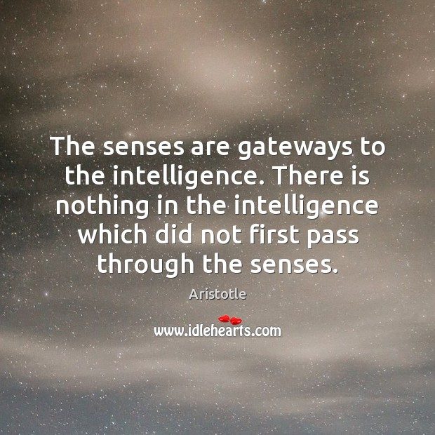 The senses are gateways to the intelligence. There is nothing in the Aristotle Picture Quote