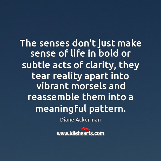 The senses don't just make sense of life in bold or subtle Diane Ackerman Picture Quote