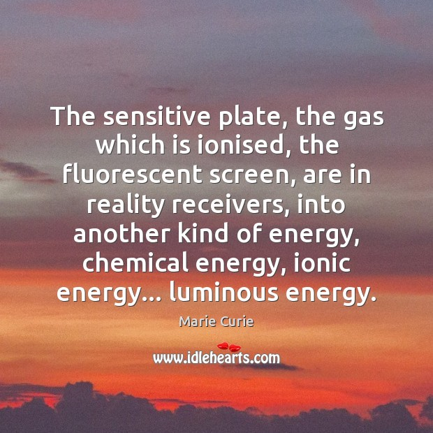 Image, The sensitive plate, the gas which is ionised, the fluorescent screen, are