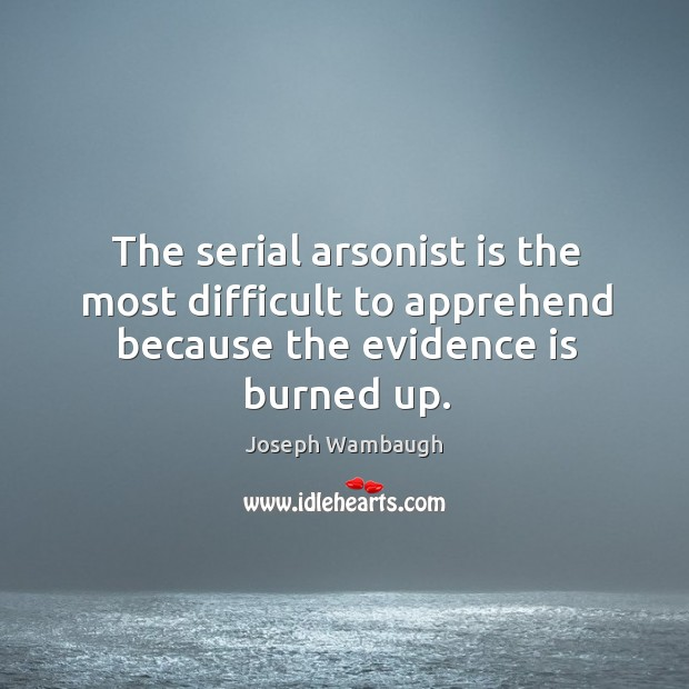 Image, The serial arsonist is the most difficult to apprehend because the evidence is burned up.
