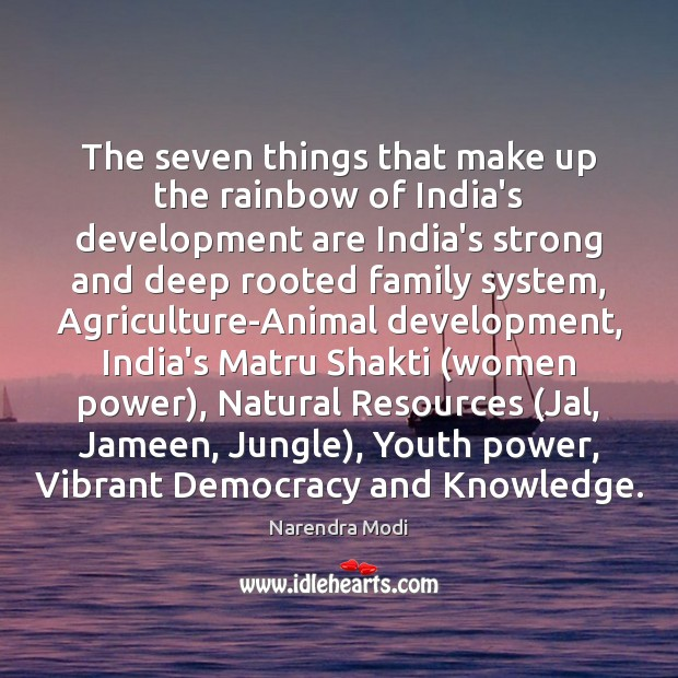 Image, The seven things that make up the rainbow of India's development are