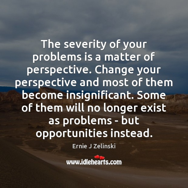 The severity of your problems is a matter of perspective. Change your Ernie J Zelinski Picture Quote