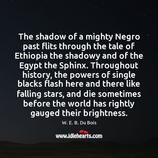 The shadow of a mighty Negro past flits through the tale of W. E. B. Du Bois Picture Quote