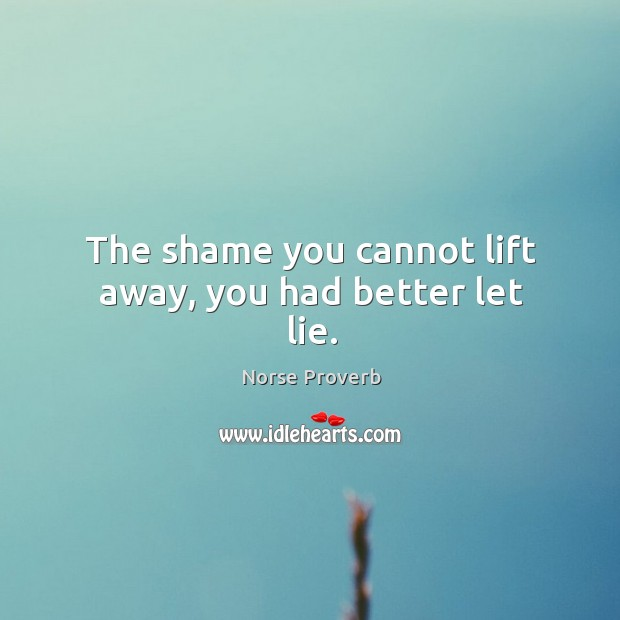 The shame you cannot lift away, you had better let lie. Norse Proverbs Image