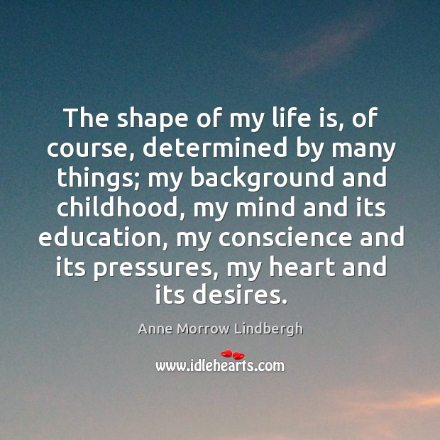 The shape of my life is, of course, determined by many things; Image