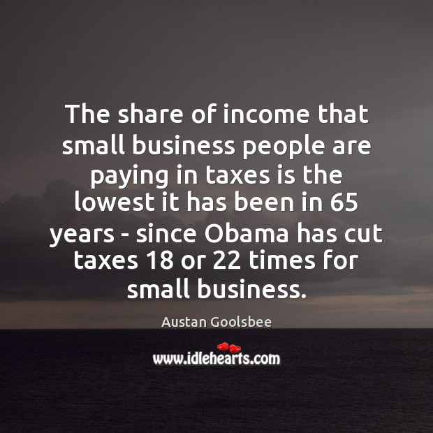 The share of income that small business people are paying in taxes Image