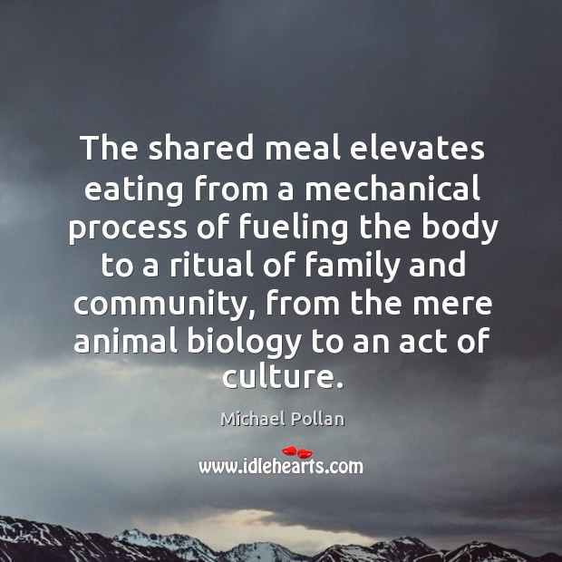 The shared meal elevates eating from a mechanical process of fueling the Image