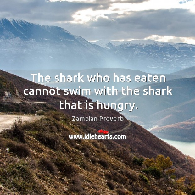 The shark who has eaten cannot swim with the shark that is hungry. Zambian Proverbs Image