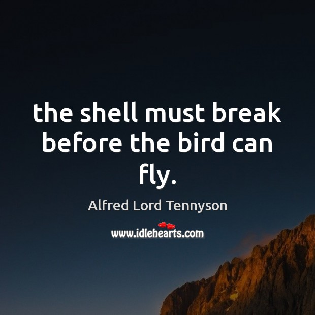 The shell must break before the bird can fly. Alfred Lord Tennyson Picture Quote