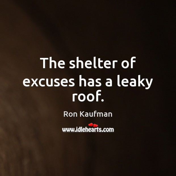 The shelter of excuses has a leaky roof. Ron Kaufman Picture Quote