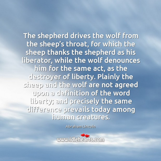 Image, The shepherd drives the wolf from the sheep's throat, for which the sheep thanks the shepherd as his liberator