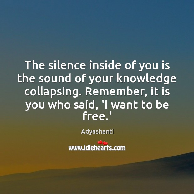 The silence inside of you is the sound of your knowledge collapsing. Image