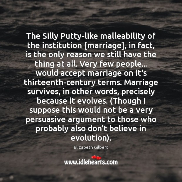 The Silly Putty-like malleability of the institution [marriage], in fact, is the Image