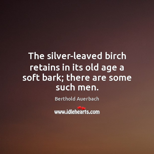 Image, The silver-leaved birch retains in its old age a soft bark; there are some such men.