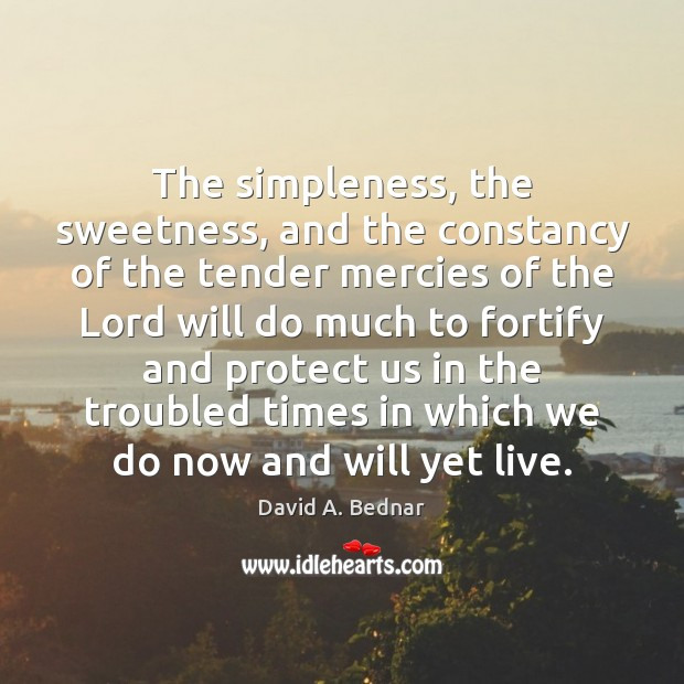 The simpleness, the sweetness, and the constancy of the tender mercies of David A. Bednar Picture Quote