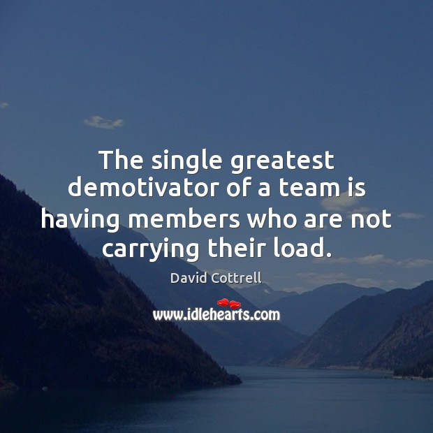 Image, The single greatest demotivator of a team is having members who are