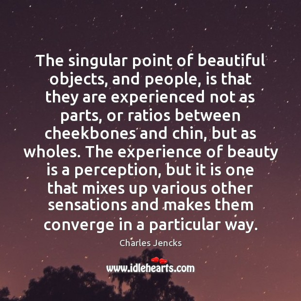 Image, The singular point of beautiful objects, and people, is that they are