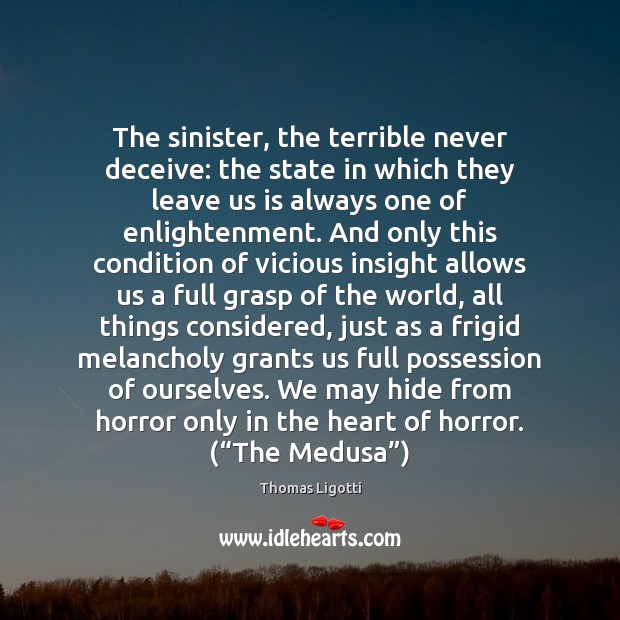 The sinister, the terrible never deceive: the state in which they leave Image