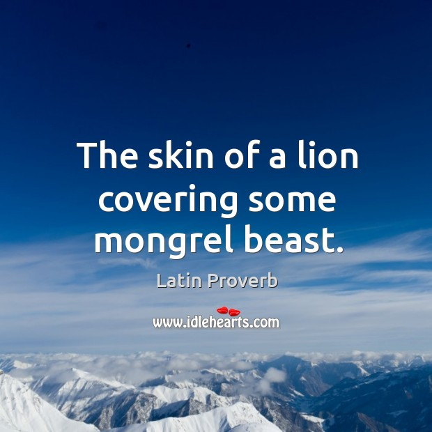 The skin of a lion covering some mongrel beast