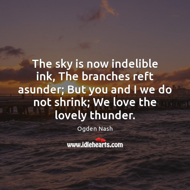 The sky is now indelible ink, The branches reft asunder; But you Image