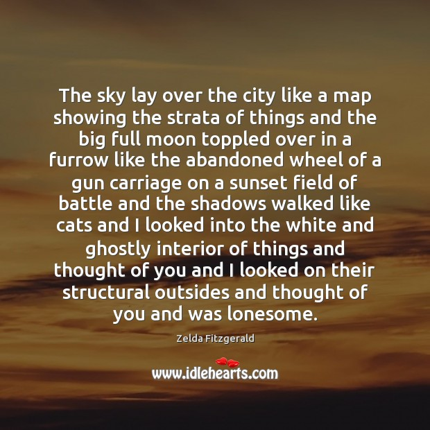The sky lay over the city like a map showing the strata Thought of You Quotes Image