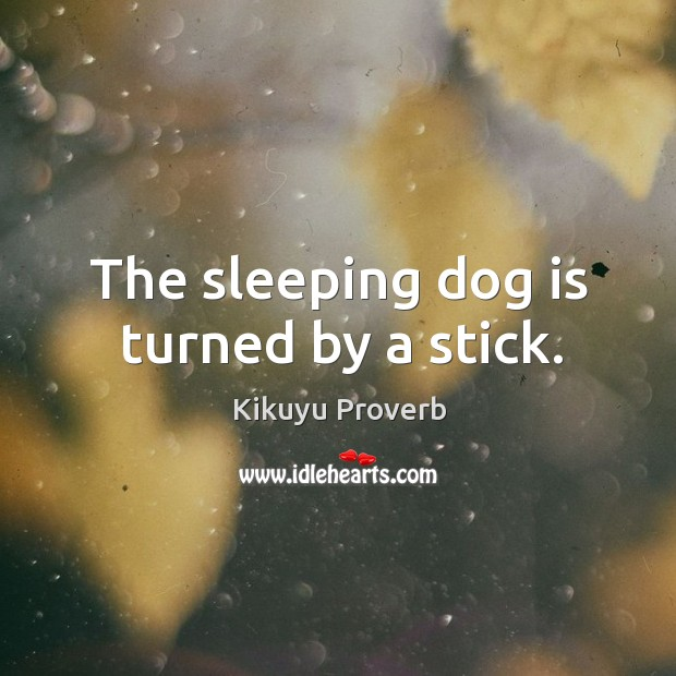 The sleeping dog is turned by a stick. Kikuyu Proverbs Image
